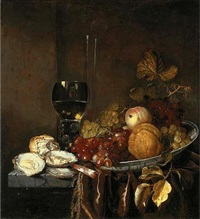 grapes on the vine, a peach and an orange in a blue and white porcelain bowl, a giant roemer and oysters on a partly draped stone table by david hennekyn