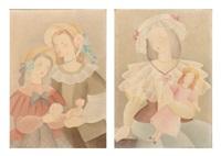 jeune fille à la poupée (+ mère et sa fille aux bouquets; pair) by alice hohermann