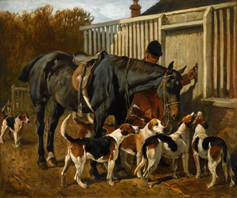huntsman bay hunter and foxhounds outside kennel by john emms