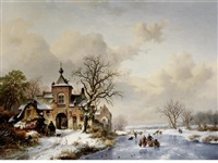 frozen waterway beside a castle by frederik marinus kruseman
