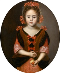 portrait of a young girl, half-length, in a pink dress with red ribbons, holding a peach by jan van noordt