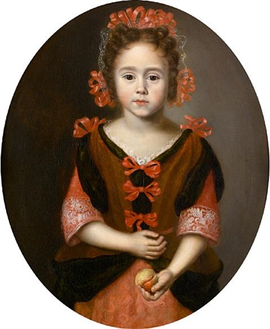 portrait of a young girl half length in a pink dress with red ribbons holding a peach by jan van noordt