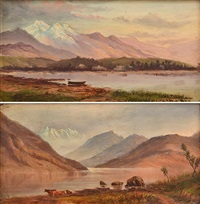 pair of paintings, boat on a lake and cattle by a lake by william charles piguenit