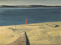 figure by the seashore ii by hughie lee-smith