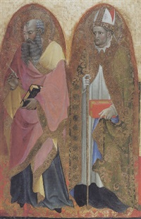 saints john the evangelist and augustine (?) by alvaro di piero (pedro)