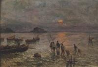 napoli, pescatori con castel dell'ovo sullo sfondo by a. scoppa