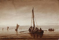 seascape with fishermen by carl ludwig bille