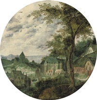 a river landscape with a town, a palace and a church by frans mostaert