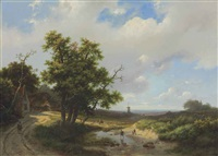 travelers in an extensive summer landscape by marinus adrianus koekkoek the elder