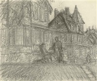 drawing for summer twilight by edward hopper
