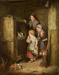 kinder vor dem kaninchenstall by paul langlois