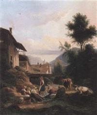 blanchisseuses près d'un ruisseau, au pied d'un paysage montagnard by isidore dagnan