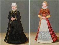 damenbildnisse (2 dbl-sided works) by lucas cranach the younger