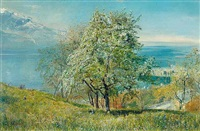 the lake of geneva from the north by john william inchbold