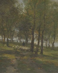 shepherd and sheep in a lane by charles paul gruppe