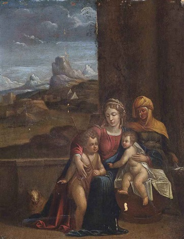 the virgin and child with saint anne and the infant saint john the baptist by benvenuto tisi da garofalo