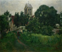 paysanne au chemin devant l'église by germain david-nillet