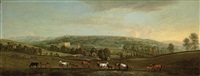 a panoramic view of chatsworth house and park, with mares and foals in the foreground by peter tillemans