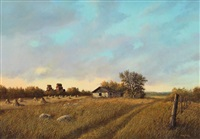 farm scene, stooks and grain elevators by milton achtimichuk