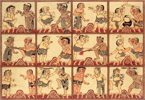 bima soearga mythological scene 11 others set of 12 by i made ketut rabeg