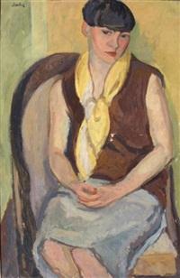 portrait d'yvonne chevalier au fauteuil by eugene dabit