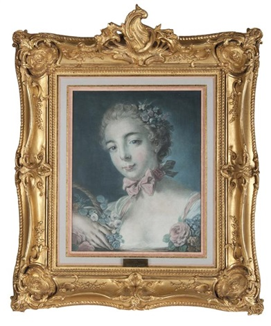 tête de femme ou tête de flore after françois boucher by louis marin bonnet