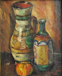 still life with two vases and fruit by marius bunescu