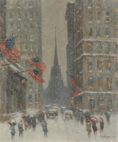 old trinity new york from wall street by guy carleton wiggins