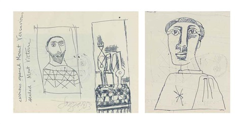 untitled portrait recto untitled monk verso by francis newton souza