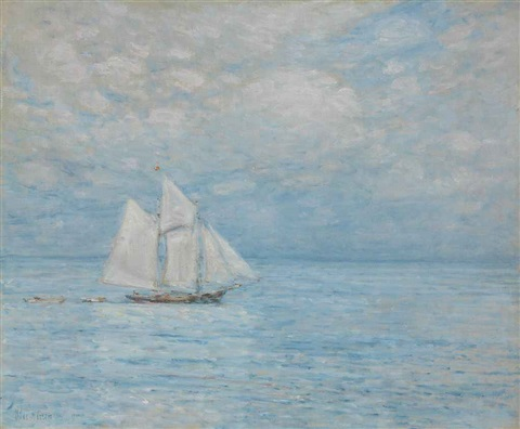 sailing on calm seas by childe hassam