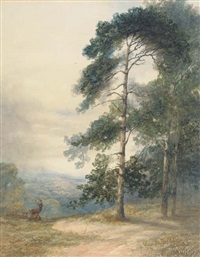 a stag and his herd scenting a disturbance by sydney herbert