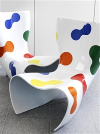 pair of felt limited edition chairs by marc newson