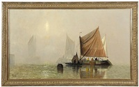 morning sun breaking through the mist with fishing boats on the thames by george webster