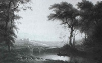figures punting in a river landscape, castle beyond by william ashford