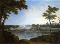 vue du palais des tuileries depuis la rive gauche (+ la place de la concorde en travaux; pair) by nicolas louis de lespinasse