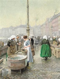 fishermen's wives selling fresh fish at gl. strand, copenhagen by paul gustave fischer