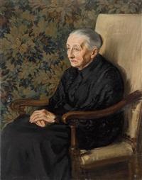 retrato de anciana ante un tapíz by jesus rodriguez corredoyra de castro