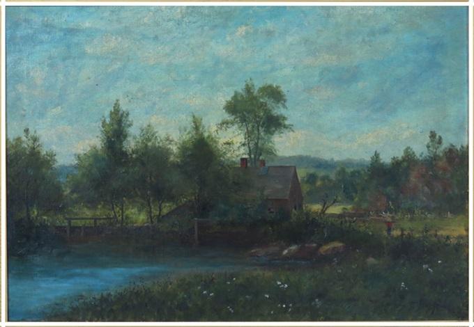 landscape, rustic log house on pond, with farmer by george frank higgins