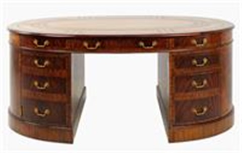 Regency Style Oval Shaped Partneru0027s Desk By Maitland Smith