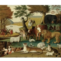 the peaceable kingdom with the leopard of serenity by edward hicks