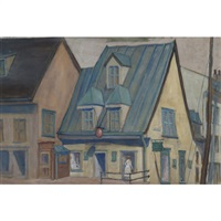 quebec street scene by william frederick george godfrey