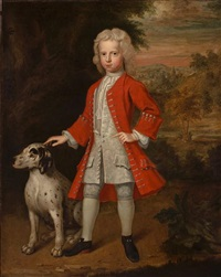 a portrait of a boy in a red coat with his dog by charles d' agar