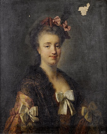 portrait of a lady in a pink embroidered silk dress and a black lace shawl a pink ribbon in her hair by françois hubert drouais