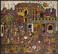 village scene iii by yinka adeyemi