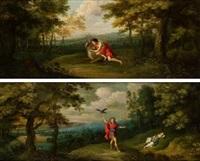 hércules capturando a la cierva de la arcadia y apolo matando a carónide (recto), estudio de don enrique valdiviso (verso) by frans wouters