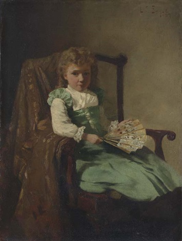 young girl with fan by lawrence carmichael earle