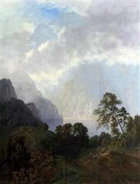 gebirgslandschaft mit see by josef auerhammer