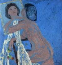 weiblicher halbakt vor spiegel by kurt lauber