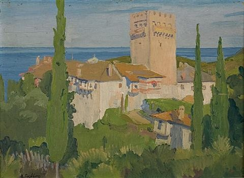 view of mount athos by dimitris yioldassis
