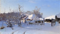 winter scene in a village by nikolai nikanorovich dubovskoy